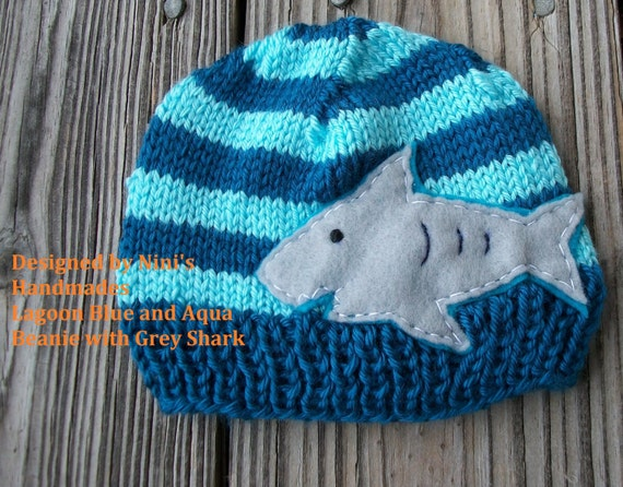 Knit SHARK Kids Beanie Made in the USA Winter by NinisHandmades