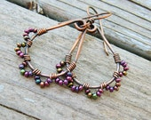Antiqued Copper Wire Wrapped Seed Beaded Hoops with Iris Purple Seed Bead Petals