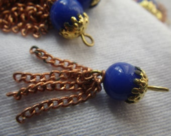 Vintage 8mm Cobalt Blue Beaded Japanese Copper Tassels 6