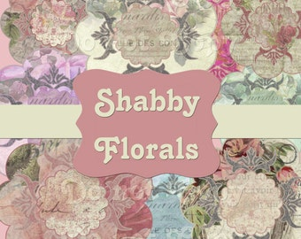 INSTANT DOWNLOAD Shabby Chic Boutique Florals Tags Chic Labels No.1 Digital Ephemera Clipart Scrapbooking Graphics Buy 1 Get 1 Free