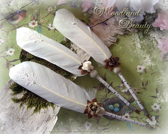 WOODLAND BEAUTY Birch Woodland Wedding Pen COUTURE Faerie Feather Pen