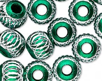 5 Beads, aluminum, green, 12mm diamond-cut round with 4.5mm hole. BIG hole bead for european style charm chains