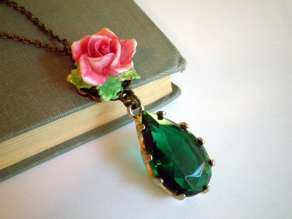 Vintage Emerald Green Rhinestone and Pink Porcelain Rose Necklace by So Very Charming