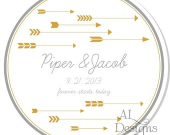 Personalized Stickers --  Arrows -- Personalized Shower Labels, Personalized Wedding Stickers, Wedding Favors -Choose the Size
