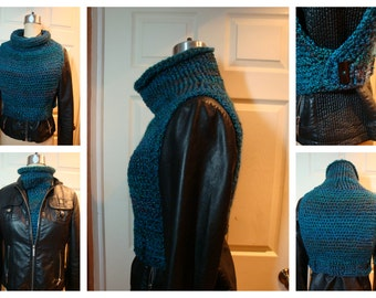 Crochet Cowl Vest Combo - Shawl, Sweater - Unique Pullover - Vibrant Blue