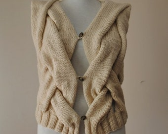 Knitted Beige Vest / Knit Elegant Cabled Vest Sweater Knit Oatmeal Sweater Ready to Ship
