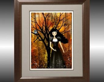 Melancholy Goth Girl Art Print - In an Autumn Forest