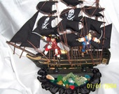 "Pirate Ship wedding cake topper or Center Piece 12"" Black Pirate ship pirate couple"