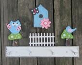 Kids Coat Rack WOODLANDS OWL Peg Rack - Hand Painted Wood
