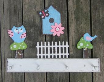 WOODLAND OWL & BIRD Girls Clothing Peg Rack - Wall Hook - Original Hand Painted Hand Crafted Wood