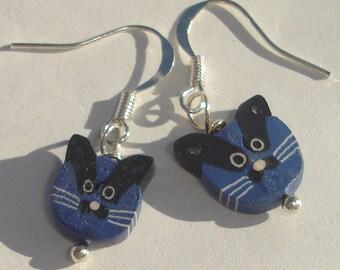 Cat Pierced Dangle Earrings dark blue polymer cat face pierced dangle hand made earrings