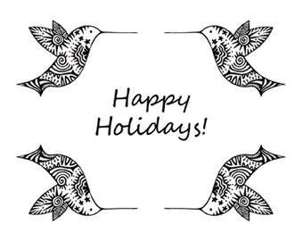 Happy Holidays hummingbird cards