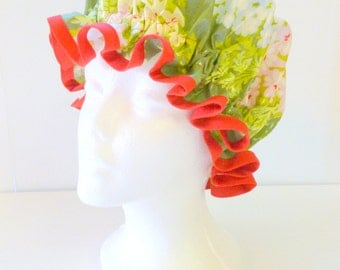 Vintage Shower Caps Moss Bouquet, Adult Size  - Wipeable and Washable, BPA FREE
