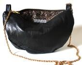 CUSTOM LISTING for Kristen - Black Crescent Black Leather & Sequin Handbag with Gold Chain Strap - Luna Mini