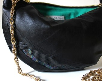 Luna Mini Dark Rainbow Crescent Black Leather Handbag