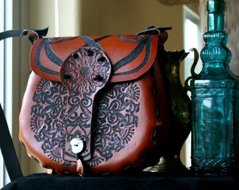 Leather Handbag-Tooled Leather Handbag- Tooled Moroccan Tapestry Leather Handbag-Boho Leather Handbag-Leather Handbag Purse-Leather Hipbag