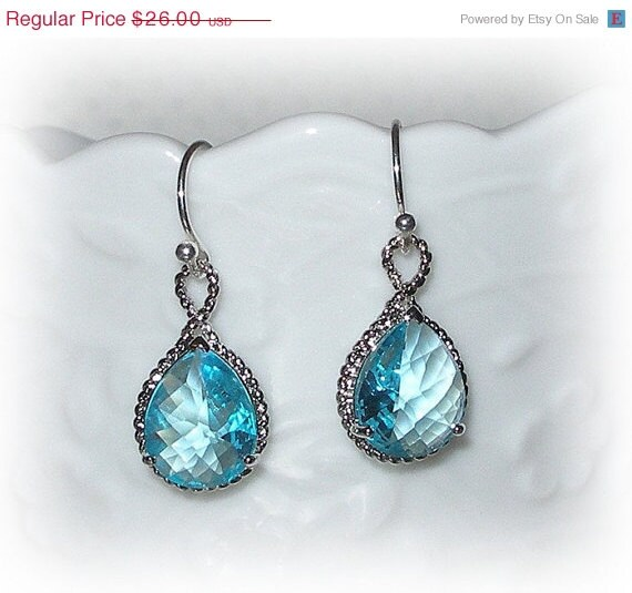 ON SALE Aquamarine Earrings Blue Crystal Glass Wedding Bridal Bridesmaid Jewelry Sterling Silver Teardrop Swiss Blue