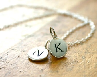 Personalized Mothers two initial charm necklace - simple sterling silver hand stamped jewelry