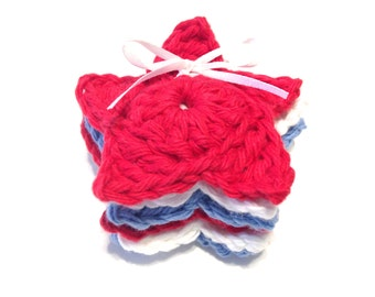 Patriotic Stars Crocheted Make-Up Removers-Red, White, And Light Blue-Set Of Six