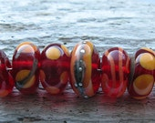 clear cherry and apricot Handmade Lampwork Beads by Ellen Dooley sra (7)