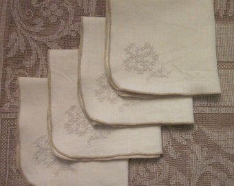 Four Vintage Cream Linen Napkins - Cross Stitched Rose