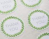 24 Thank You Green Wreath Stickers, Wedding Stickers, Thank You Stickers, Fall Stickers, Leaf Stickers, Floral Wreath Sticker, Wedding Favor