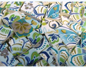 Mosaic Tiles - BLuE HaND PAiNTeD FLORaL - 110 China Mosaic Tiles