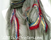 RESERVED Nuno Felted Scarf - Grey Swirls