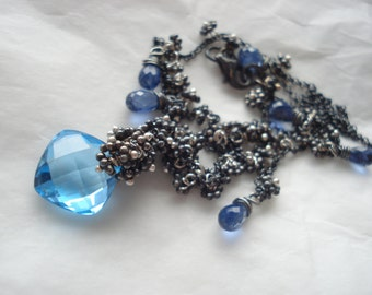 AZUL--blue topaz,kyanite, sterling silver