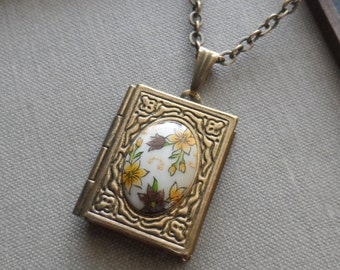 Mayumi, Book Lover Locket Necklace with Vintage Cameo,