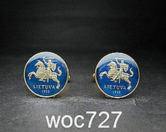 Lithuania enamelled coin cufflinks Lithuanian Knight 17mm