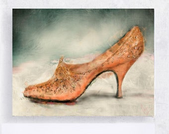 Shoe Art - Shoe Print - Fashion Art - Shoe Still Life -  Vintage Vivier Classic Coral Heel Portrait - 5x7 Canvas Print on Block  - Women Art