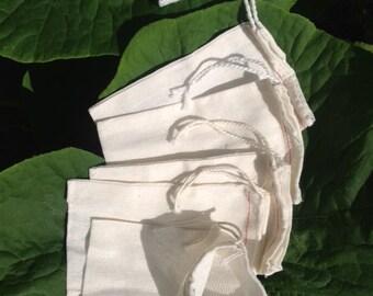 "25 Natural Cotton Muslin Drawstring Bags 4""X6"" FREE SHIPPING"