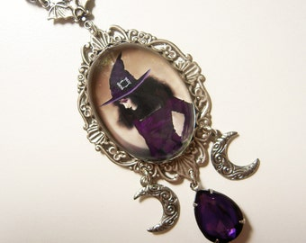 Glam Witch Necklace -  Filigree Rhinestone Drop in violet, amethyst purple and champagne