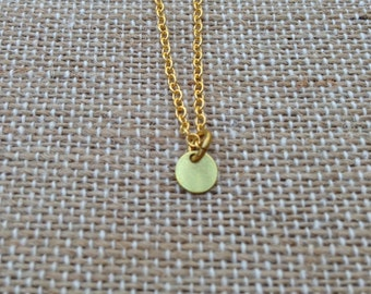 Tiny Small Disc Brass Charm Necklace