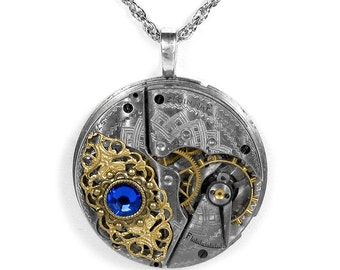Steampunk Jewelry Necklace 1914 ELGIN ORNATE Silver Pocket Watch SAPPHIRE Blue Crystal Filigree Wedding Anniversary - Jewelry by edmdesigns