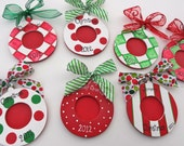 RESERVED for ROBIN Set of 6 Personalized Ornament Picture Photo Frames