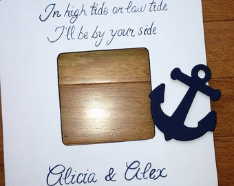 Custom Painted Wedding Picture Frame Quote, Nautical wedding, Engagement, Custom Wedding Gift