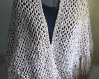 Crocheted Cream/MulticolorTriangle Shawl