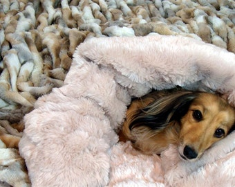 Dog Bed - Dream Weaver - Snuggle Sack  - Basket Weave Faux Fur - Includes Embroidered Personalization