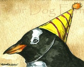 ACEO signed PRINT - Party Penguins no 1 (in a series) Gentoo Penguin
