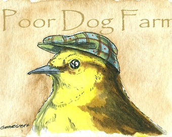 ACEO signed PRINT - Dapper British Wagtail in a hat -