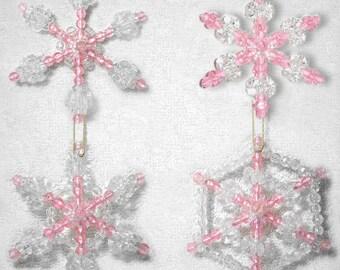 Beaded Snowflake Ornaments, 4pc Set - Pink