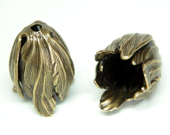 Large Leaf End Caps Pair - Oxidized Brass