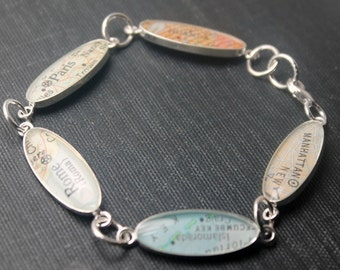 Mother's Day Gift for Nana, Around The World Vintage Map Sterling Silver and Resin Custom Bracelet. You Select the Journey.