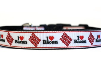 1 Inch Wide Dog Collar with Adjustable Buckle or Martingale in I Love Bacon