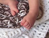Midwifery Weighing Sling- Cozy Chocolate Scroll - beautiful keepsake or photo prop