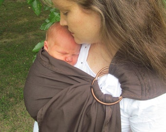 Ring Sling Baby Carrier - Deep Chocolate Tencel Twill Ring Sling w DVD