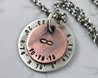 Personalized Mens Necklace, Husband Gift, Custom Coordinates, Custom Hand Stamped, mens personalized, Engraved Necklace, Custom Name