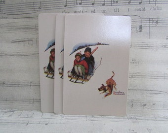 Vintage Norman Rockwell Winter Playing Cards--Set of 15